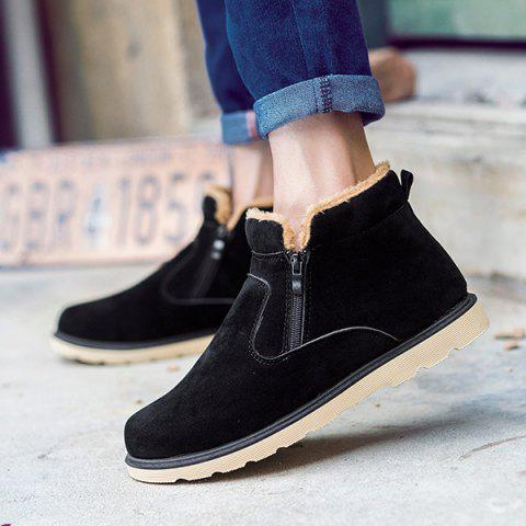 Store Suede Double Zips Ankle Boots - 42 BLACK Mobile