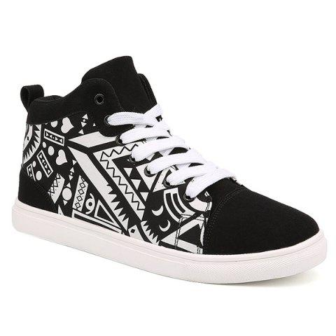 Cheap Lace Up Suede Spliced Geometric Print Boots - 44 WHITE AND BLACK Mobile