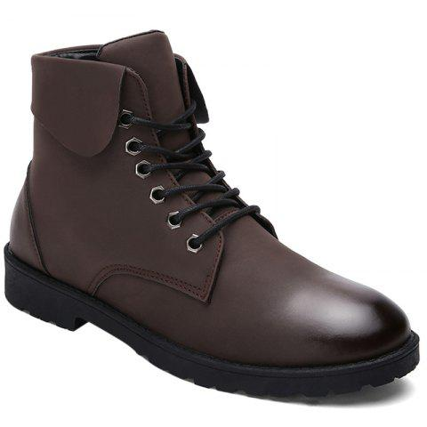 Online Lace Up Eyelet Fold Down Combat Boots BROWN 43