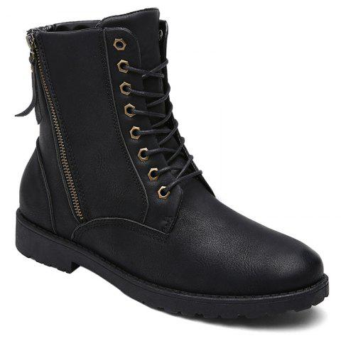 Shop PU Leather Eyelet Side Zip Combat Boots - 44 BLACK Mobile