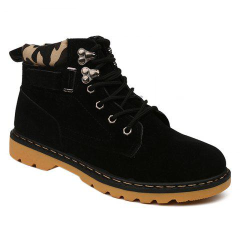 Trendy Metal Eyelet Lace Up Suede Short Boots - 41 BLACK Mobile