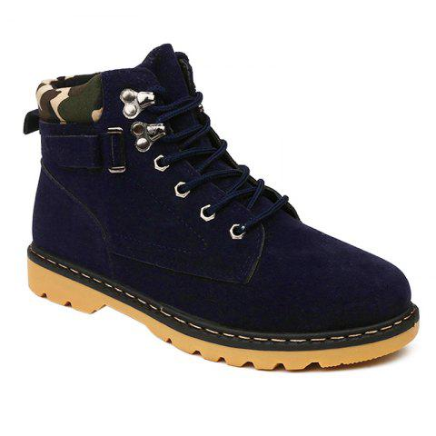 Cheap Metal Eyelet Lace Up Suede Short Boots BLUE 44