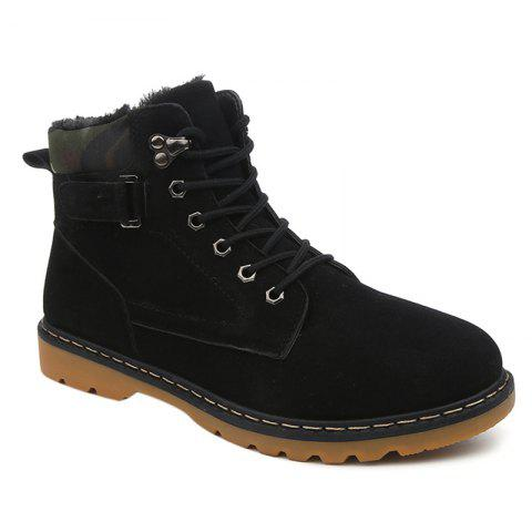 Discount Eyelet Lace Up Suede Short Boots - 41 BLACK Mobile