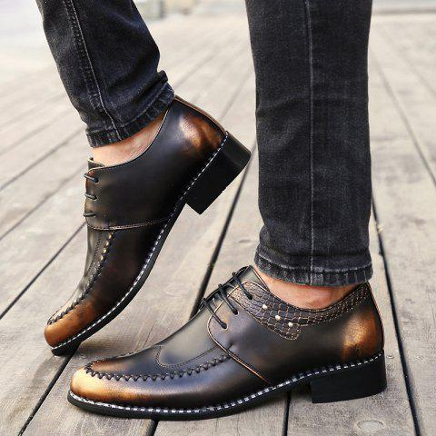 Chic PU Leather Embossed Panel Formal Shoes - 43 BROWN Mobile