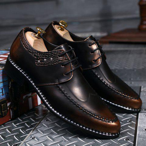 Shop PU Leather Embossed Panel Formal Shoes - 41 BROWN Mobile