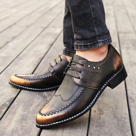 Shop PU Leather Embossed Panel Formal Shoes - 40 BROWN Mobile
