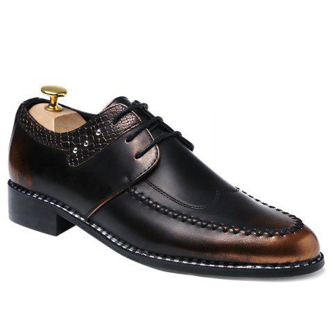 PU Leather Embossed Panel Formal Shoes - BROWN 40