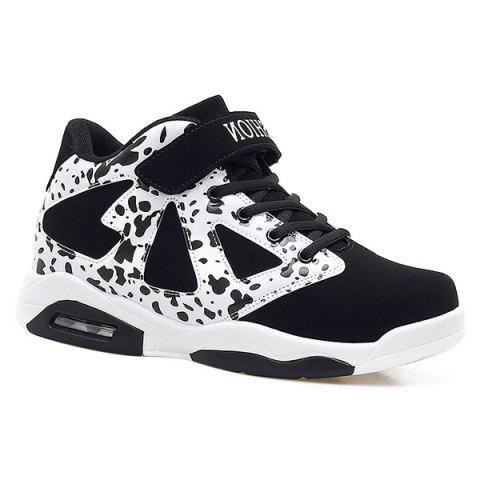 Shop Colour Block High Top Athletic Shoes WHITE AND BLACK 43