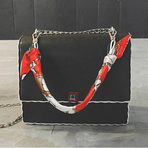 Fashion Chain Covered Closure Scarves Crossbody Bag