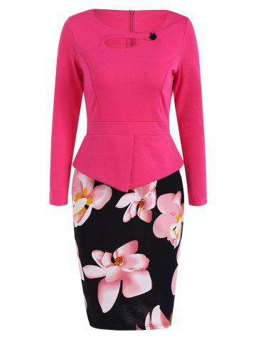 Plus Size Long Sleeve Peplum Floral Midi Pencil Dress - Rose Red - 5xl