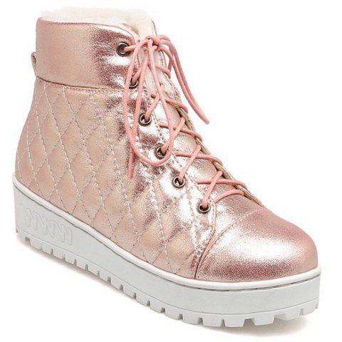 Cheap Quilted Lace Up Platform Short Boots