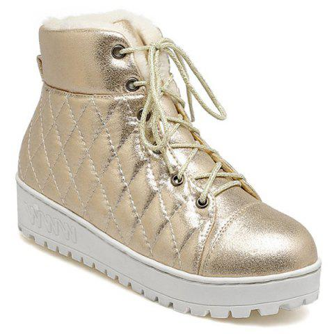 Quilted Lace Up Platform Short Boots - Golden - 39