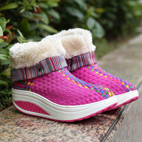 Chic Colored Weaving Fuzzy Platform Boots ROSE RED 39