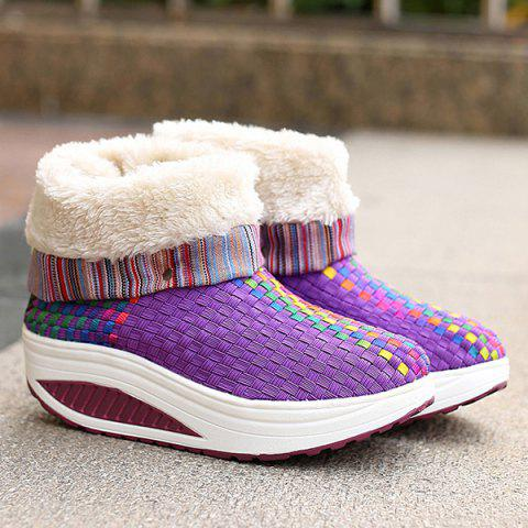 Chic Colored Weaving Fuzzy Platform Boots