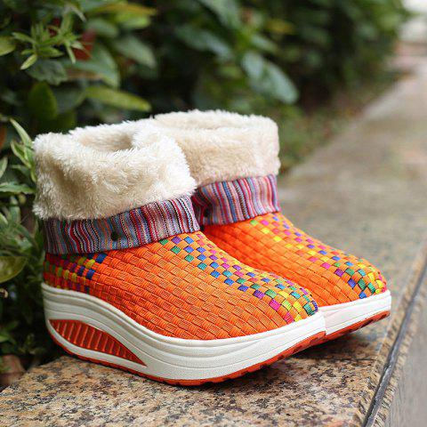 Best Colored Weaving Fuzzy Platform Boots - 38 ORANGE Mobile