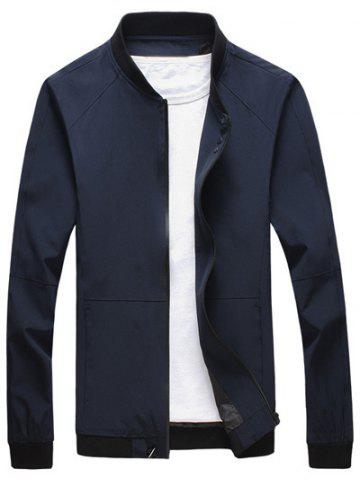 Fashion Stand Collar Rib Spliced Design Zip Up Jacket