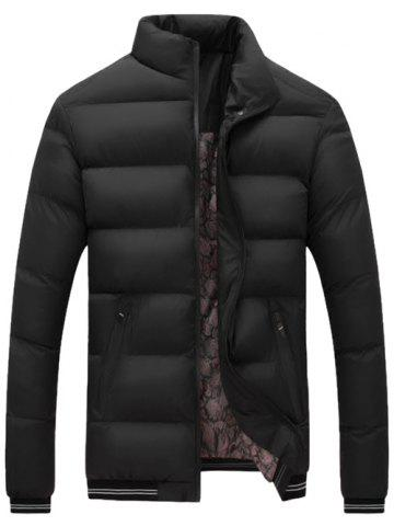 Best Stripe Rib Edging Design Zip Up Quilted Jacket