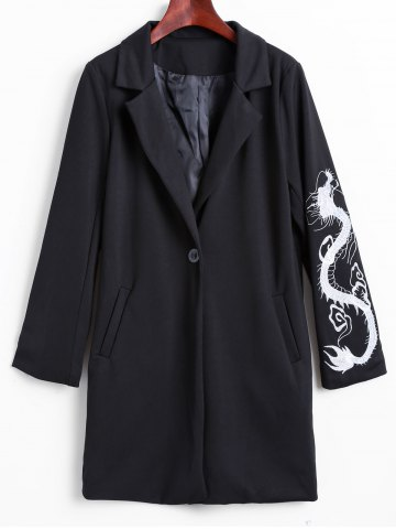 New Lapel Collar Dragon Embroidered Cocoon Coat