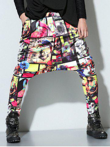 Hot Hip Hop Low Slung Crotch 3D Pattern Harm Pants