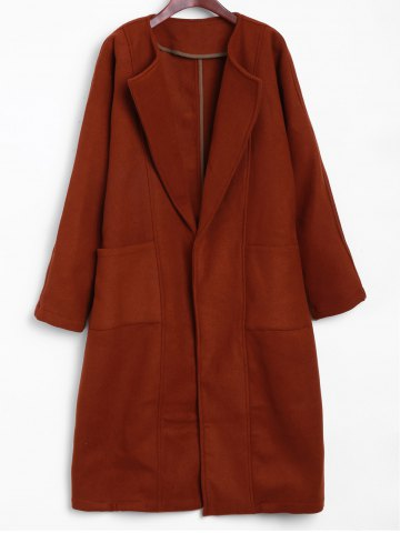 Outfit Buttonless Lapel Collar Side Slit Long Coat