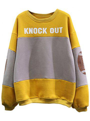Online Football Patched Panelled Yellow Sweatshirt