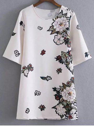 Trendy Floral Shift Mini T Shirt Dress WHITE L