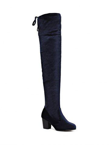 Store Zip Lace Up Chunky Heel Thigh Boots