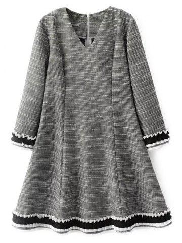 Outfits V Neck Long Sleeve Flare Day Dress GRAY L