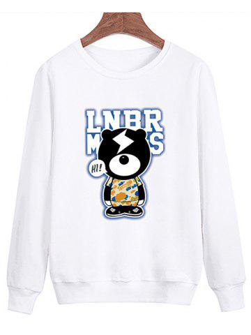 Online Cartoon Graphic Crew Neck Sweatshirt - XL WHITE Mobile