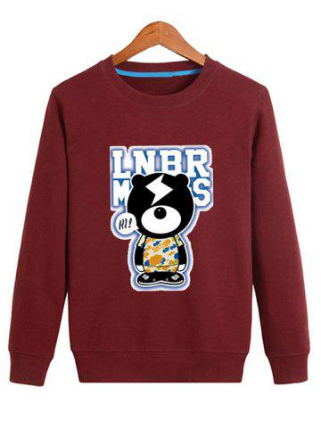 Affordable Cartoon Graphic Crew Neck Sweatshirt - M DEEP RED Mobile