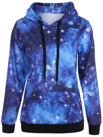 Outfits Pullover Galaxy Print Drawstring Hoodie DEEP BLUE S