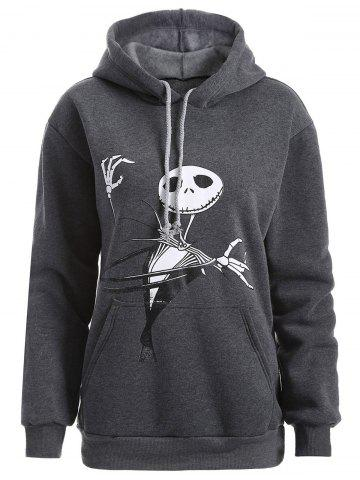 Plus Size Halloween Ghost Print Graphic Hoodie - Deep Gray - Xl