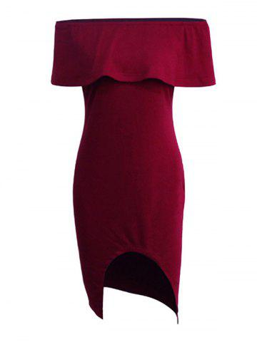 Outfits Off The Shoulder Capelet Dress BURGUNDY S