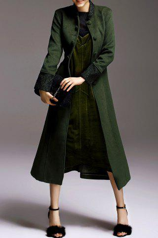 Hot Skirted Belted Woolen Coat - L GREEN Mobile
