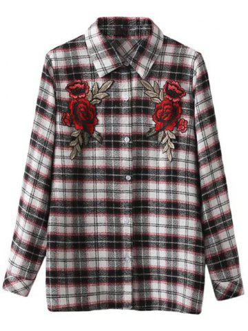 Chic Floral Embroidered Patched Tartan Shirt CHECKED L