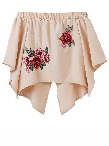 Fashion Off Shoulder Embroidered Smock Top YELLOWISH PINK L