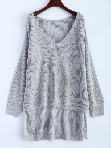 Fashion V Neck High Low Oversized Pullover Sweater