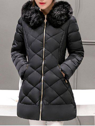 Long Hooded Puffer Coat With Fur Trim - Black - M