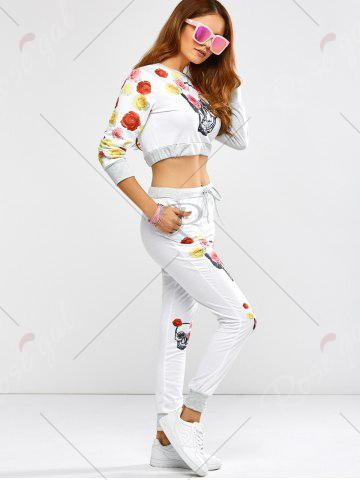Sale Active Rose Skull Print Crop Top and Running Jogger Pants - XL WHITE Mobile