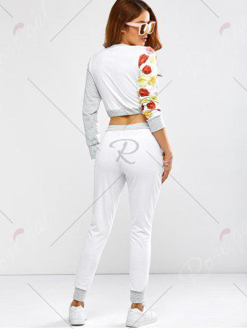 Latest Active Rose Skull Print Crop Top and Running Jogger Pants - XL WHITE Mobile