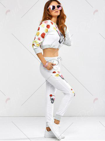 Online Active Rose Skull Print Crop Top and Running Jogger Pants - XL WHITE Mobile