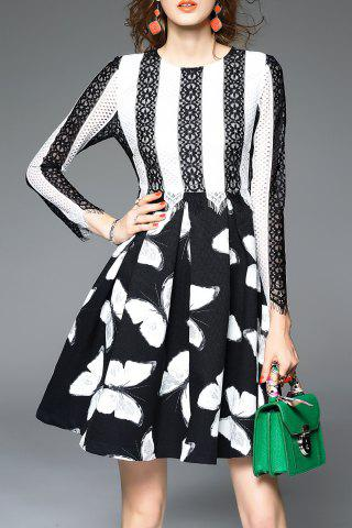 Lace Color Block Print A Line Dress