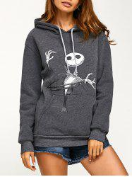 Drawstring Halloween Ghost Print Hoodie - DEEP GRAY