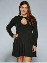 Keyhole Neck Empire Waist Plus Size Skater Dress