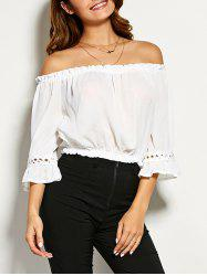 Crochet Trim Chiffon Cropped Blouse