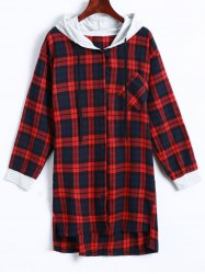 Plaid Button Up Panel Hoodie -