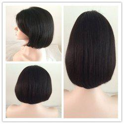 Short Oblique Bang Straight Bob Lace Front Human Hair Wig -