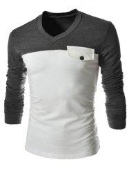 Modish V-Neck Two Color Splicing Fake Pocket Slimming Long Sleeve Polyester T-Shirt For Men