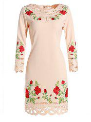 Floral Embroidered Crochet Trim Dress -