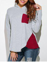Single Pocket Asymmetrical Hooded T-Shirt -